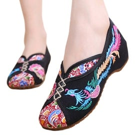 Women fashion Casual Shoes BalletCloth Embroidered Shoes Colorful Phoenix black 34