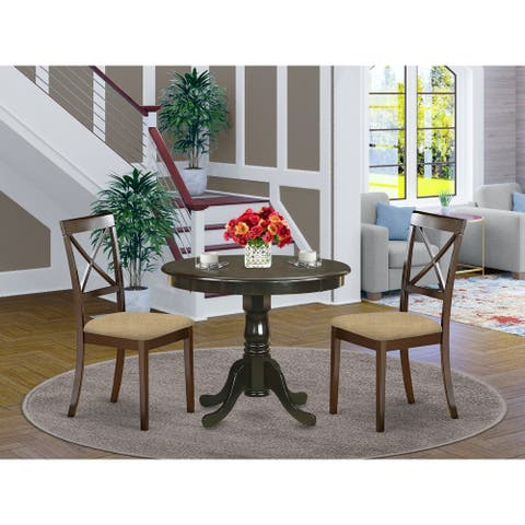 3 Piece Kitchen Set - Round Kitchen Table and 2 Dining Chairs in Cappuccino Finish