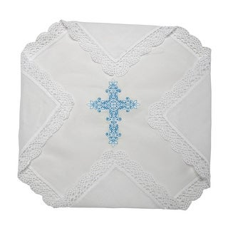 Something Blue for You Bridal Handkerchief with Cross Embroidery