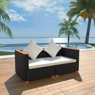 vidaXL Garden Sofa Poly Rattan Black