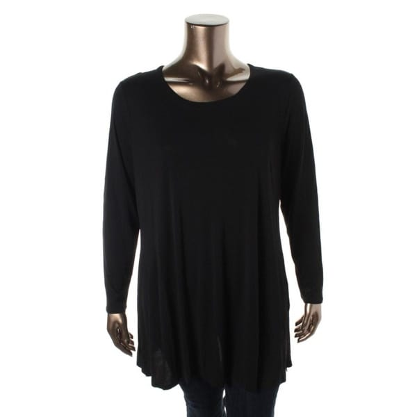 Eileen Fisher Womens Plus Tunic Top Silk Scoop Neck