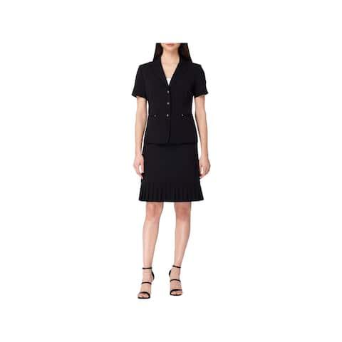 Tahari ASL Womens Petites Skirt Suit Ruffled Short Sleeves
