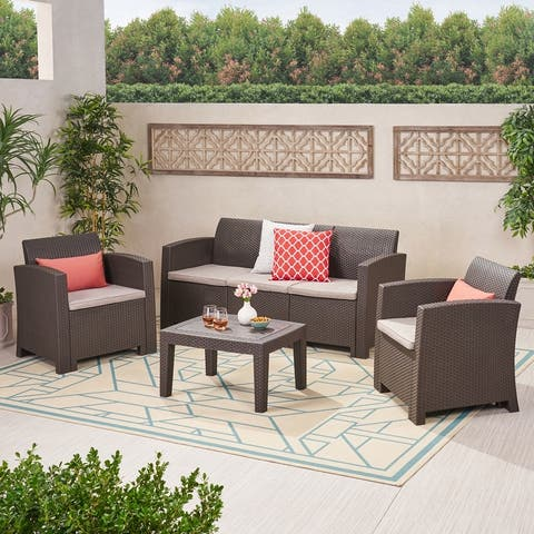 Jacksonville Outdoor 4-pc. Cushioned Wicker Chat Set by Christopher Knight Home