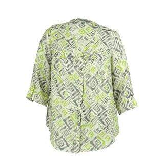JM Collection Women's 100% Linen Ikat Print Blouse - fun ikat lime
