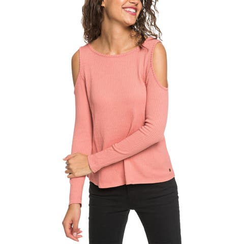 Roxy Womens Juniors Mock Sweater Ribbed Crop - M