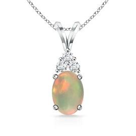 Angara 7x5mm Oval Opal Solitaire Pendant with Trio Diamond V-Bail - White