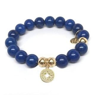 Julieta Jewelry Sunburst Charm Blue Jade Bracelet