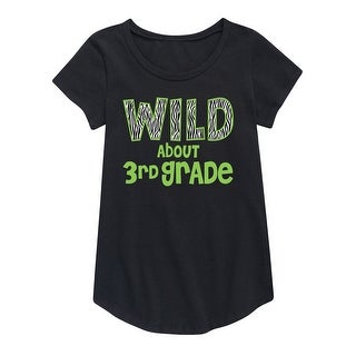 Wild About 3Rd Grade - Youth Girl Short Sleeve Curved Hem Tee