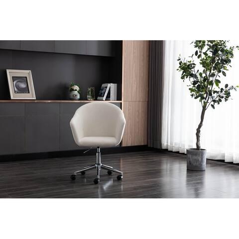 Linen Swivel Upholstered Adjustable Height Home Office Desk Chair