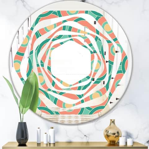 Designart 'Retro Circular Pattern VI' Modern Round or Oval Wall Mirror - Whirl