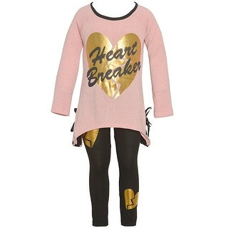 "Little Girls Blush Black Gold Glitter ""Heart Breaker"" 2 Pc Legging Outfit"