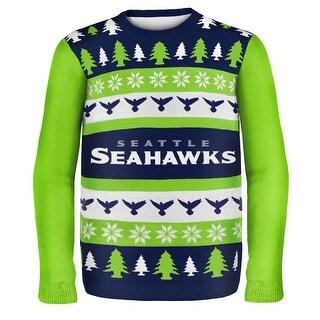 Seattle Seahawks Wordmark NFL Ugly Sweater