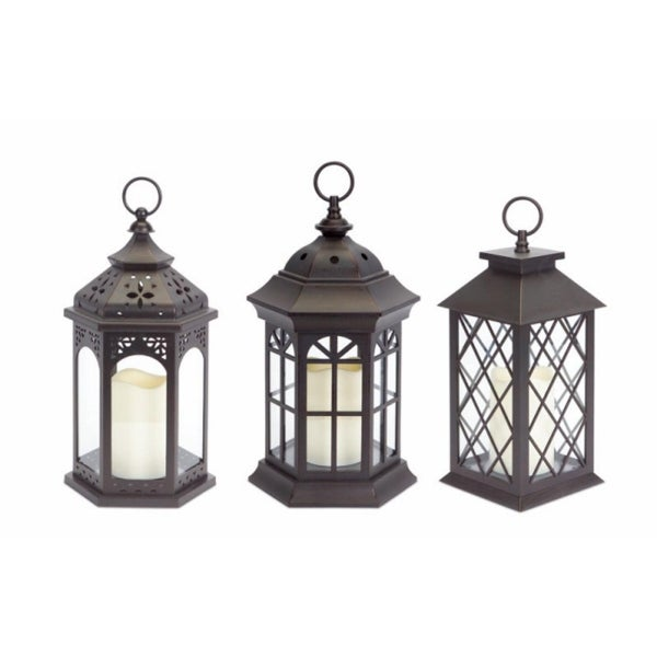 Pack of 3 Dark Brown Battery Operated Outdoor LED Candle Lanterns w/ Timers - N/A
