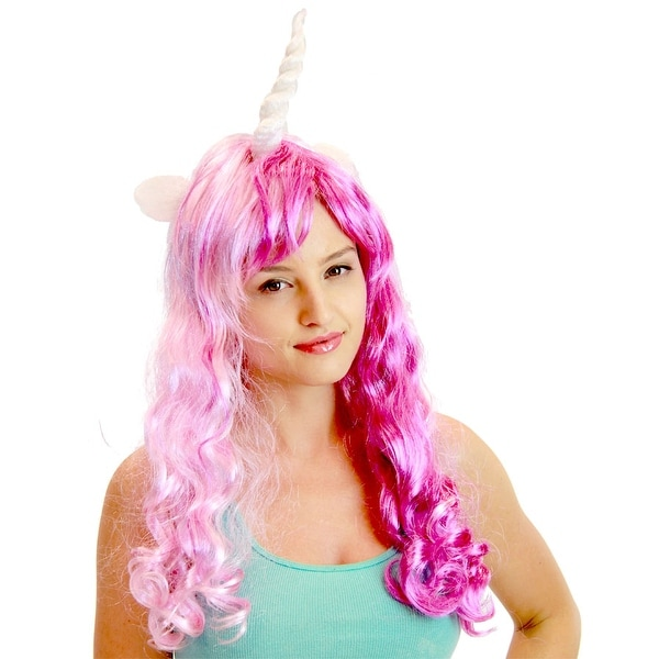 Deluxe Unicorn Costume Wig With Ears Adult Purple u0026&; Pink/Singer  sc 1 st  Overstock.com & Shop Deluxe Unicorn Costume Wig With Ears Adult: Purple u0026 Pink ...