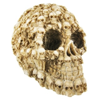 Ossuary Style Human Skull Statue Figure Skeleton - 5.75 X 5.25 X 4.25 inches