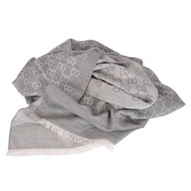 New Gucci 165903 XL Light Silver Grey Silk Wool GG Guccissima Logo Scarf Shawl