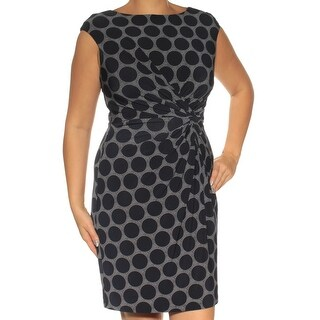 Womens Navy Polka Dot Cap Sleeve Above The Knee Sheath Dress Size: 109