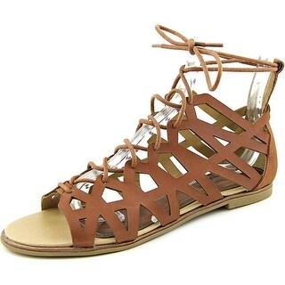 Kenneth Cole Reaction Mel A Knee Women Open Toe Leather Tan Gladiator Sandal