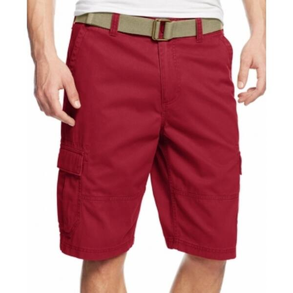 2197221975 American Rag NEW Red Mens Size 33 Relaxed-Fit Belted Cargo Shorts. Image  Gallery