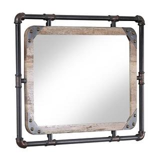 Furniture of America Revo Industrial 31″ Metal Wall Mirror