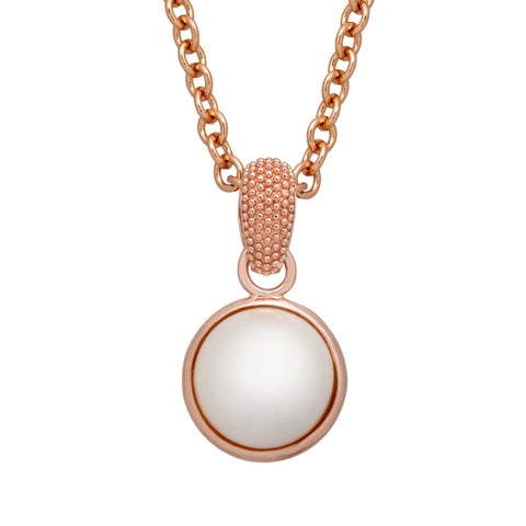 15 mm Freshwater Pearl Pendant in 18K Rose Gold-Plated Bronze