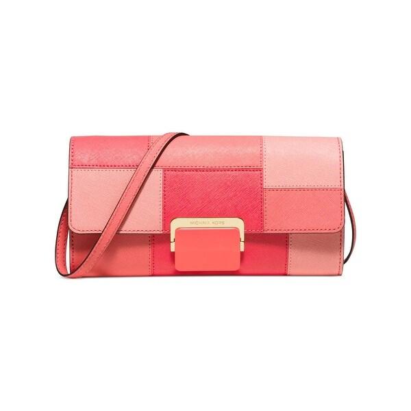 MICHAEL Michael Kors Womens Cynthia Clutch Handbag Leather Colorblock -  Small 0cac01b14d8ec