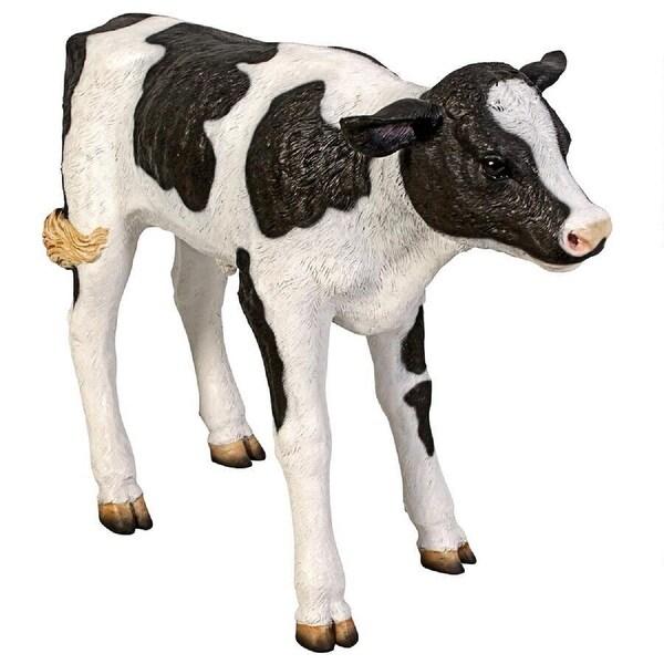 "35"" Holstein Calf Hand Painted Outdoor Garden Statue - N/A"