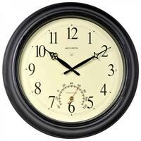 AcuRite 18 Inch Atomic Black Metal Outdoor Clock Outdoor Clock