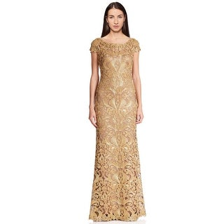 Tadashi Shoji Cord Embroidered Lace Cap Sleeve Evening Gown Dress