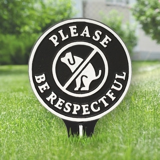 Whitehall Please Be Respectful No Poop Dog Cast Aluminum Yard Sign (Black/White)