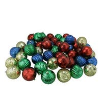 "150ct Shiny Red  Blue  Green and Gold Shatterproof Mercury Ball Christmas Ornaments 3.25"" (80mm)"