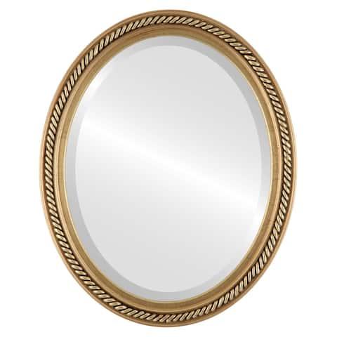 Santa Fe Framed Oval Mirror in Antique Gold Leaf