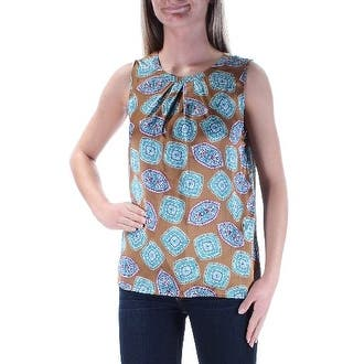 NINE WEST Womens Brown Geometric Sleeveless Jewel Neck Peasant Top Size: XS