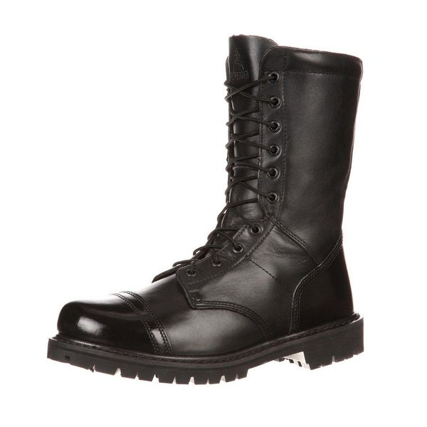 "Rocky Work Boots Men 10"" Zip Jump Boot Goodyear Black"