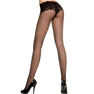 Fishnet Pantyhose With Rhinestone Backseam, Fishnet Stockings With Rhinestone Backseam