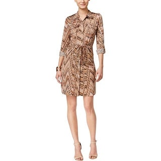 NY Collection Womens Petites Shirtdress Printed Drawstring Waist - pl