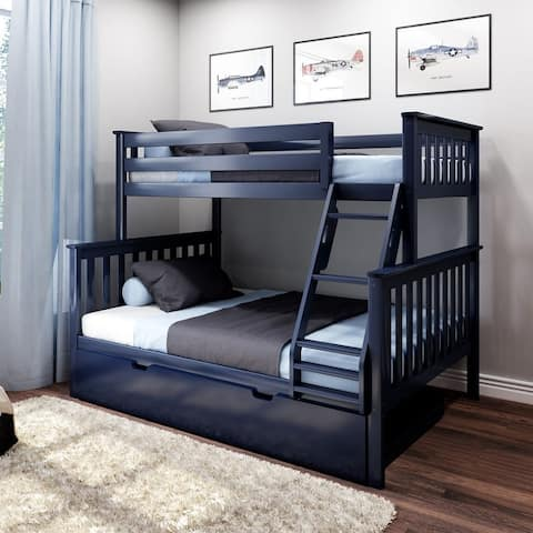 Max & Lily Twin over Full Bunk Bed with Trundle Bed