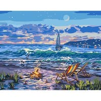 """Paint By Number Canvas W/Lights Kit 11""""X14""""-Beach"""