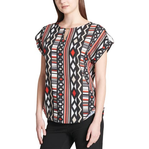 Calvin Klein Womens Blouse Pattern Rolled Sleeves