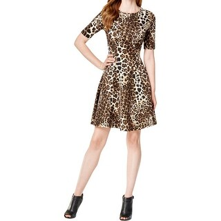 Karen Kane Womens Casual Dress Leopard Print Scuba