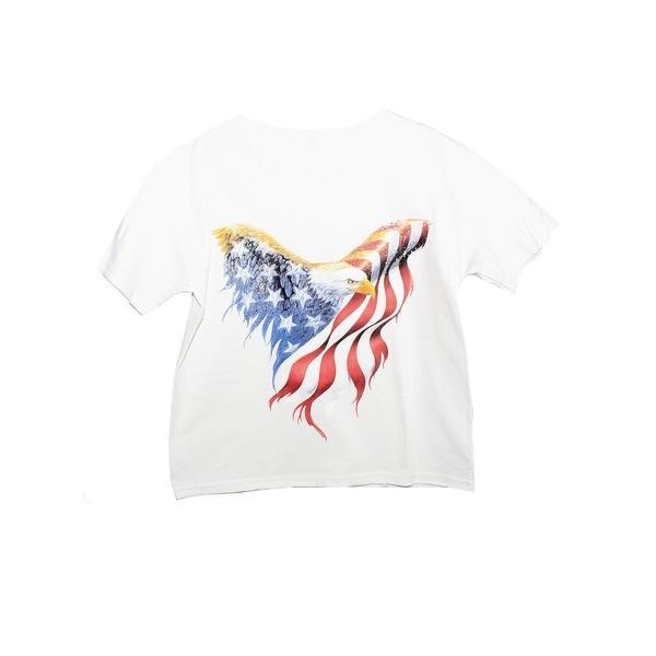 41f24678 Unisex Kids White American Eagle Print Short Sleeve Cotton T-Shirt