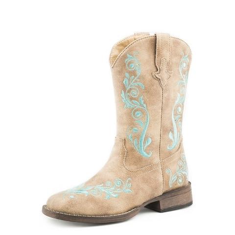 Roper Western Boots Girls Zip Square Toe Tan