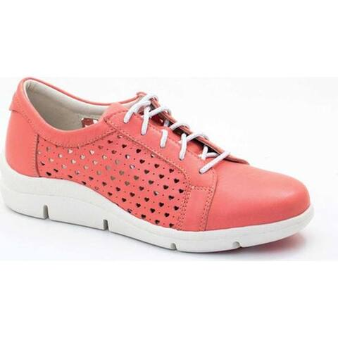 Dromedaris Women's Vivian Lace Up Sneaker Coral Leather