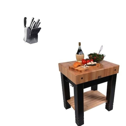John Boos CU-BB 30x24 Butcher Block & Henckels Knife Set