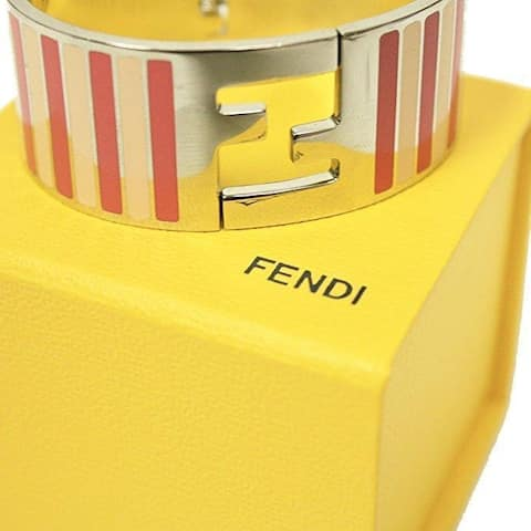Fendi Silver Enamel Cuff with Pink Stripes Clic Clac Luxury Bracelet 8AG137