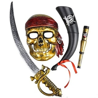4-Piece Pirate Halloween Explorer Costume set - Mask and Accessiories