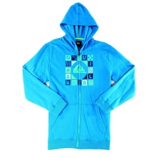 Quiksilver NEW Blue Green Mens Size XL Full Zip Hooded Sweater