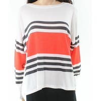 Go Couture White Womens Size Medium M Striped Scoop Neck Knit Top