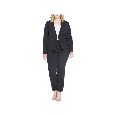 Tahari ASL Womens Plus Pant Suit Office Wear Pinstripe