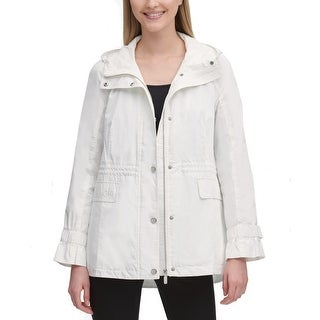 Calvin Klein Womens Jacket Classic White Size Medium M Hooded Anorak